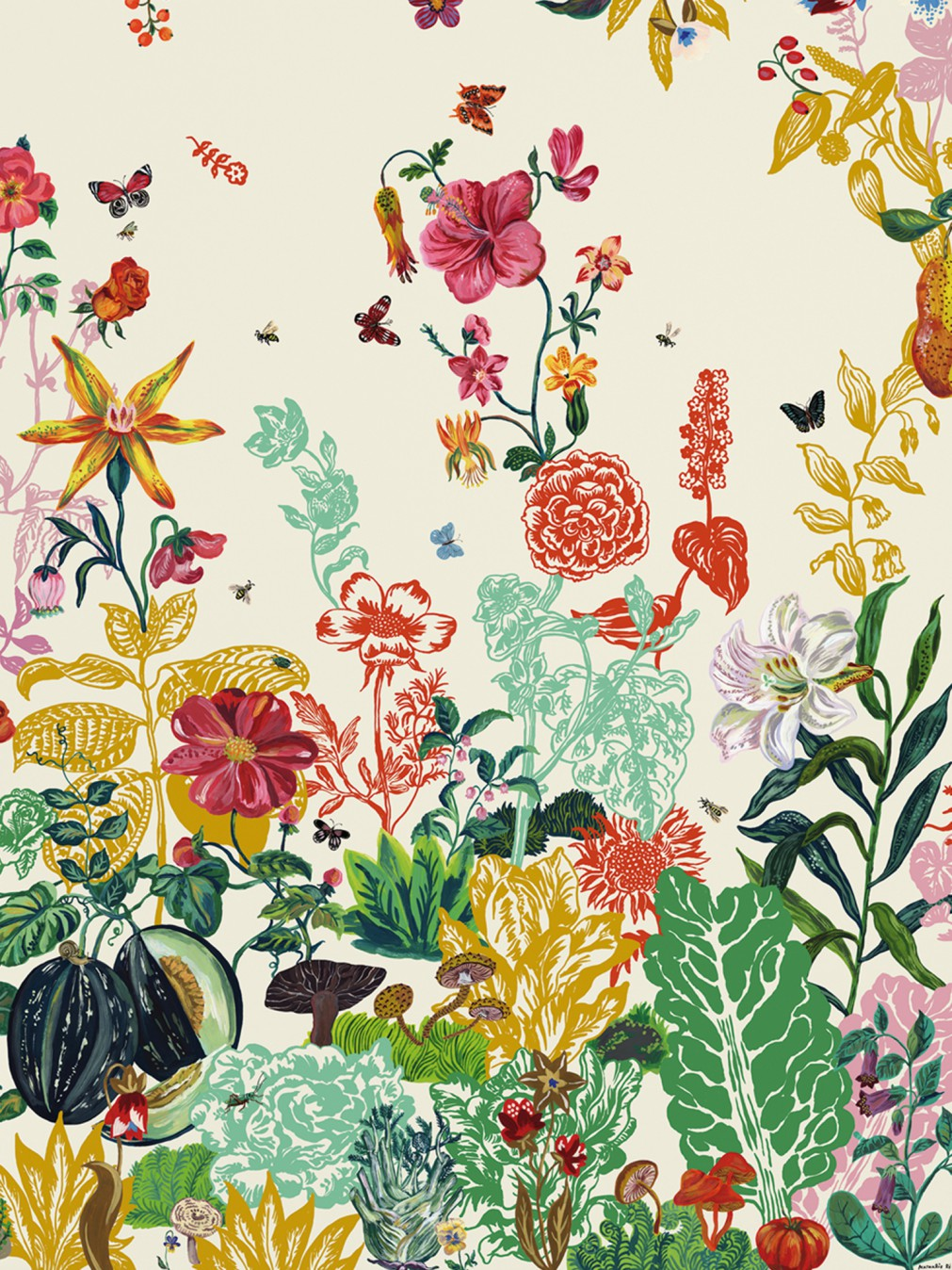 Wallpapers posters nathalie l t wallpaper jardin for Jardin floral